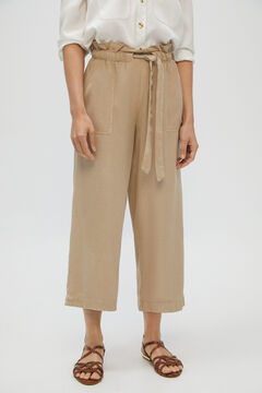 Cortefiel Fluid straight cropped 100% lyocell trousers Brown