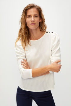 Cortefiel Pleated buttoned t-shirt Stone
