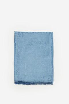 Cortefiel Logo jacquard scarf Royal blue