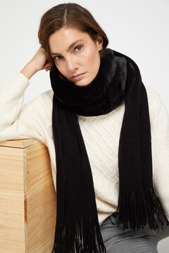 Cortefiel Knitted scarf with faux fur Black