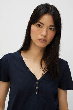 Cortefiel Basic t-shirt with buttons Navy