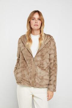Cortefiel Reversible faux fur jacket Beige