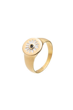 Cortefiel CIAM wide ring - Black - Gold Beige