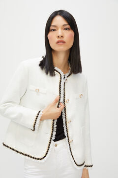 Cortefiel Tweed jacket White