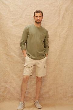 Cortefiel Cargo style colour Bermuda shorts Mink
