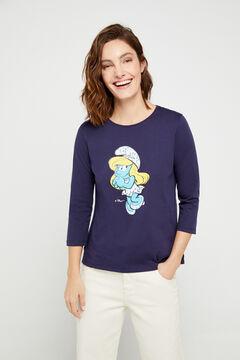 Cortefiel T-shirt estampada Os pitufos de algodão orgânico Azul