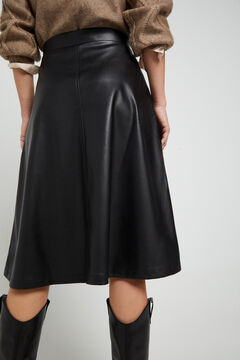 Cortefiel Jersey-knit midi skirt Black