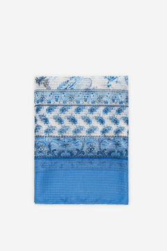Cortefiel Paisley textured scarf Blue