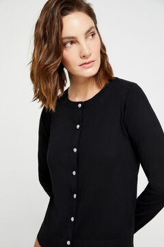 Cortefiel Eco-friendly jewel button jacket Black