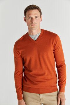 Cortefiel Cotton/cashmere V-neck jumper  Red
