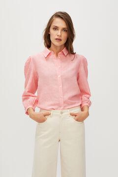 Cortefiel Long-sleeved linen shirt Purpura