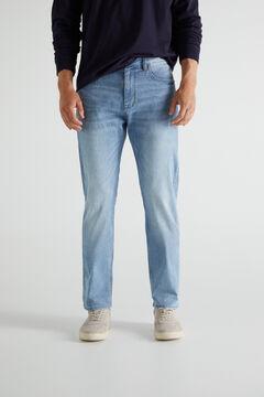 Cortefiel Lightweight regular light wash jeans Blue