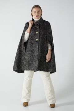 Cortefiel Hooded cape in textured fabric Ecru