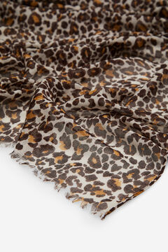 Cortefiel Leopard print and lurex stripes scarf Ecru