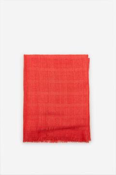 Cortefiel Lenço de seda textura riscas lúrex Vermelho