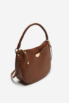 Cortefiel Hobo bag with gold detail Tobaco