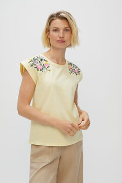 Cortefiel Floral embroidery organic cotton T-shirt Yellow