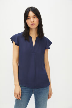 Cortefiel Printed floaty blouse Navy