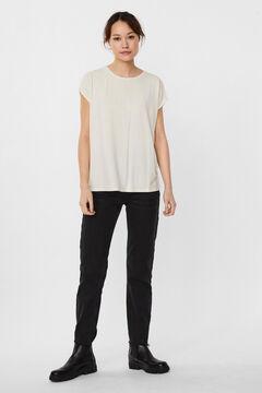 Cortefiel Lurex basic t-shirt White