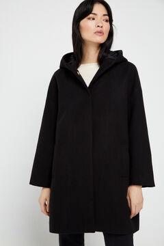 Cortefiel Abrigo capa capucha Negro