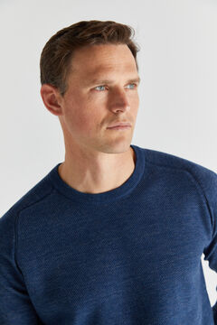 Cortefiel Crew neck jumper with textured front Bluejeans