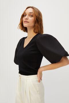 Cortefiel Camiseta manga abullonada Negro