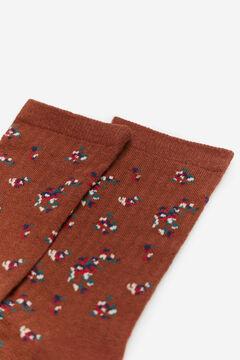 Cortefiel Floral ribbed socks Beige