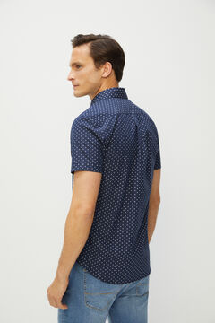 Cortefiel Short-sleeved end-on-end shirt Navy