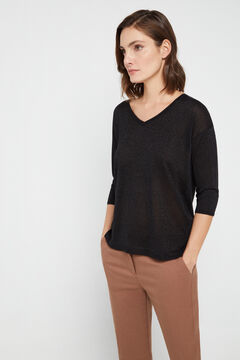 Cortefiel Lurex V-neck jumper Black