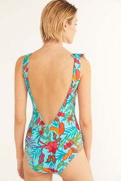 Cortefiel Eco-friendly flounced shaping swimsuit Blue