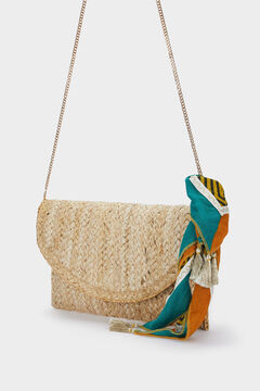 Cortefiel Straw texture party bag Brown