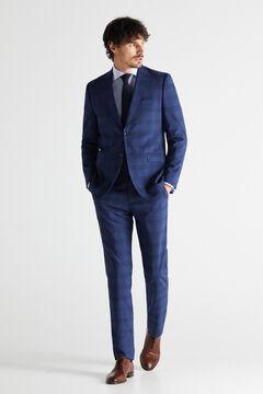 Cortefiel Checked slim fit stain resistant blazer Royal blue
