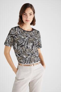 Cortefiel T-shirt algodão orgânico gola caixa Marfim