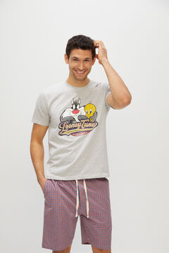 Cortefiel Looney Tunes jersey-knit and woven pyjamas Gray
