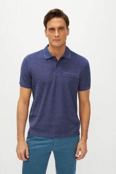 Cortefiel Oxford fabric short-sleeved polo shirt Royal blue