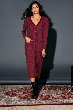 Cortefiel Ribbed jersey-knit dress Fuchsia