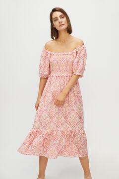Cortefiel Short-sleeved dress Ecru