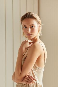 Cortefiel Vestido estilo lingerie acetinado Beige