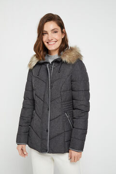 Cortefiel Short quilted hooded anorak Dark gray