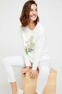 Cortefiel Organic cotton floral embroidery sweatshirt Brown