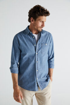 Cortefiel Camisa chambray algodón Azul