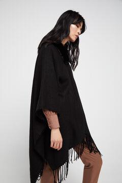 Cortefiel Removable faux fur collar poncho Black