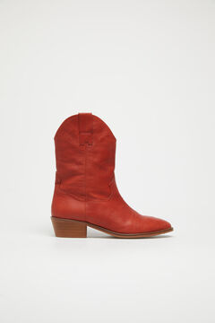 Cortefiel Mid calf cowboy boot Red