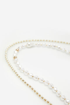 Cortefiel Collar choker perlas Beige