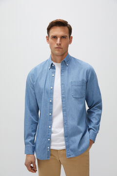Cortefiel Denim shirt Blue
