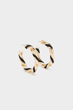 Cortefiel Intertwined hoop earrings Black