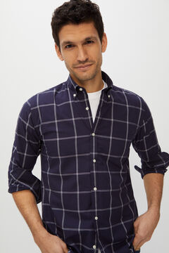 Cortefiel Windowpane check shirt Navy