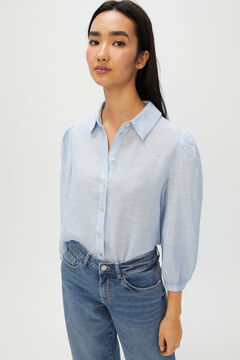 Cortefiel Long-sleeved linen shirt Blue