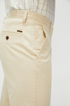 Cortefiel Essential classic fit organic cotton chinos Stone