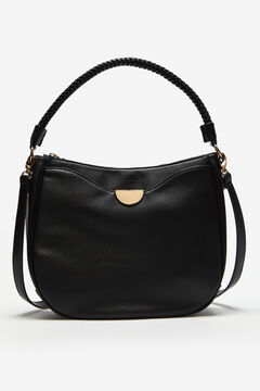 Cortefiel Hobo bag with gold detail Black